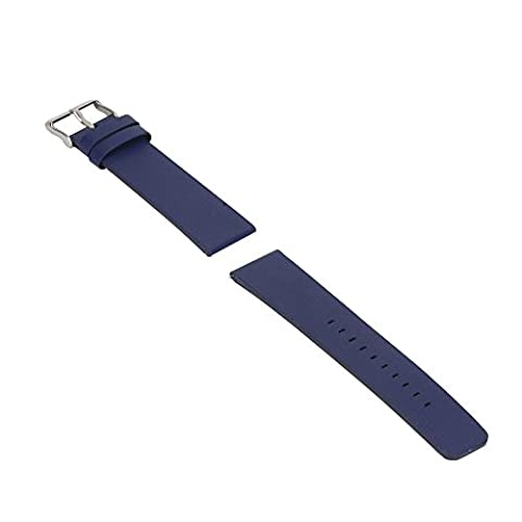 Bemodst® Fitbit Blaze Genuine Leather Strap Blaze Bracelet Wrist Strap Replacement Band For Fitbit Blaze Smart Fitness Watch Width 23MM with Apring Bar (Navy