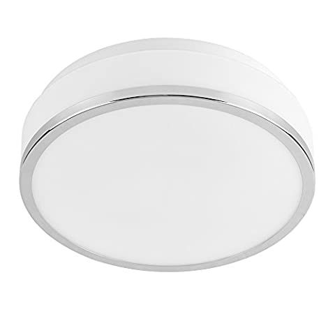 Modern Polished Chrome and Frosted Opal White IP44 Rated Flush