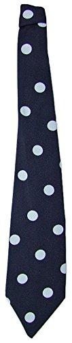 Krawatte 50er Jahre mit Punkten Dunkelblau Navy - Tolles Accessoire zum Fifties Kostüm an Karneval oder Mottoparty