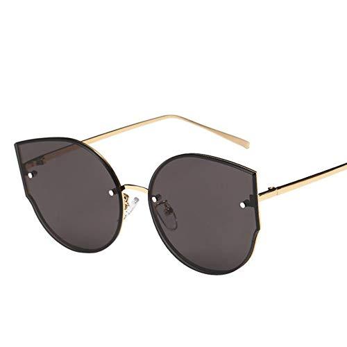 QDE Sonnenbrillen Damen Sonnenbrillen Spiegel Flat Rose Gold Vintage Sonnenbrillen Lady Eyewear, Grau