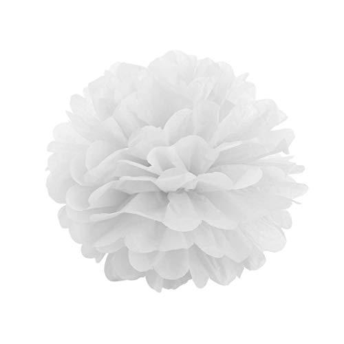 JZK 10 x Pompoms Pompons, 20cm Durchmesser, Seidenpapier Blume Dekoration für Wohnzimmer Hochzeit Geburtstag Babyparty Kinder Party Weihnachten Silvester, weiß - Kugel-hochzeit Band