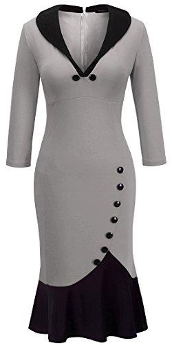HOMEYEE Damen Elegant VAusschnitt Cocktailkleid Party Meerjungfrau Kleid  B27 Grau