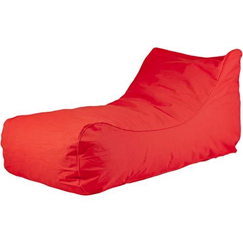 Ecopuf master chaise longue – poltrona divanetto pouf da esterno in poliestere impermeabile e sfoderabile (rosso)