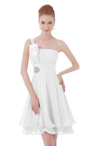 Sunvary One, tracolla corta in Chiffon vestito da damigella d'onore abito Homecoming White