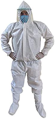 VOUCH White Medical PPE KIT with Disposable Hooded Full Body Coverall, Latex Gloves, Shoe Cover, Face Mask, Fa