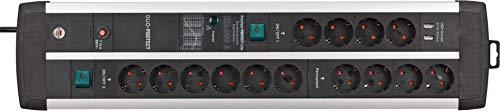 Brennenstuhl Premium-Protect-Line Steckdosenleiste 14-fach mit 2x Schalter und Überspannungsschutz (3m Kabel, 2-fach USB 3,1 A, Made in Germany) silber/schwarz