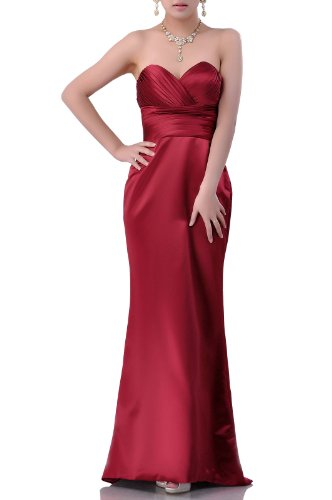 Empire Besondere Anl?sse Sweetheart Satin Strapless Modest Brautjungfer Kleid lang, Farbe Rot, 16 (Sweetheart Strapless Satin Kleider)