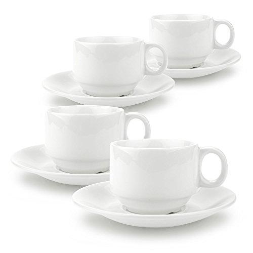 Rachel's 90ml La Tasses de Café et Soucoupe en Porcelaine délicat et Résistant 1 paquet de 4