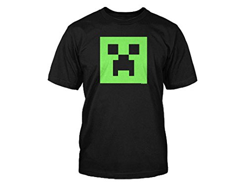 Offizielles Minecraft Creeper Glow in The Dark Face T Shirt - Youth, Schwarz -