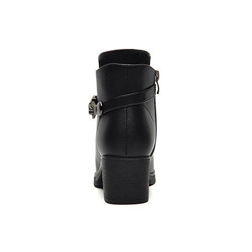 Damen Stiefeletten Reißverschluss Blockabsatz Einfache Winterstiefeln Schwarz