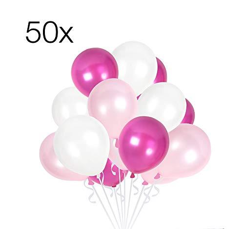 TK Gruppe Timo Klingler 50x Luftballons Mix Ballons Ø 35 cm Balloons Luftballon Ballon pink, rosa, weiß Weiss Latexballons Babyparty für Helium und Luft (pink-rosa-weiß-Mix)