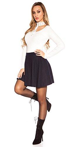 Style femmes MINIJUPE jupe tricotée Jupe en forme de cloche en ligne a virevoltant Bleu
