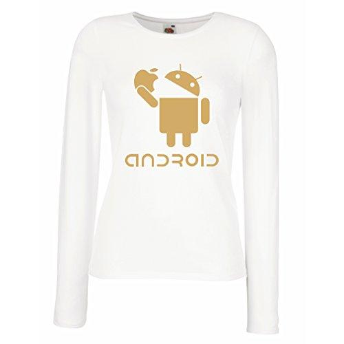 Manches Longues Femme T-Shirt Android Mange la Pomme -Jaime les Gadgets Tech Cool, Cadeau DHumour Blanc Or