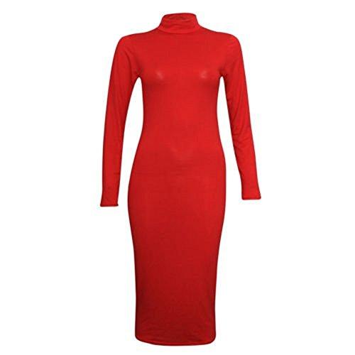 Comfiestyle - Robe - Robe midi - Uni - Col polo - Femme red