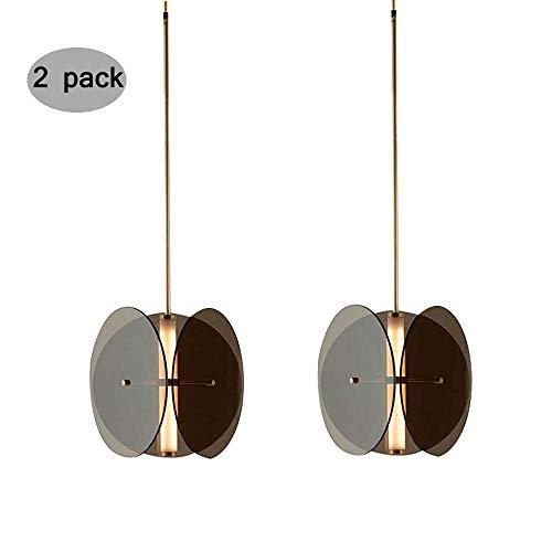 XINYU Moderne LED Schmiedeeisen Mini Acryl Anhänger Lighing, Metall Dekorative Hängende Deckenleuchte, Einfache Kreative Kronleuchter for Flure Schlafzimmer Wohnzimmer (Color : 2 Pack) (Küche Anhänger Leichte 2 Insel)
