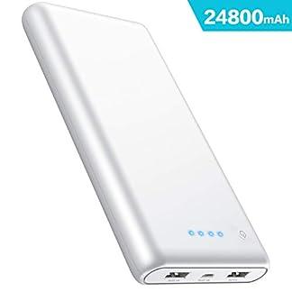iPosible Batería Externa, Power Bank [24800mAh] Ultra Alta Capacidad Cargador Portátil Móvil con 2 Puertos Salidas USB Alta Velocidad y 4 LED para Smartphones Dispositivos Tabletas y Más