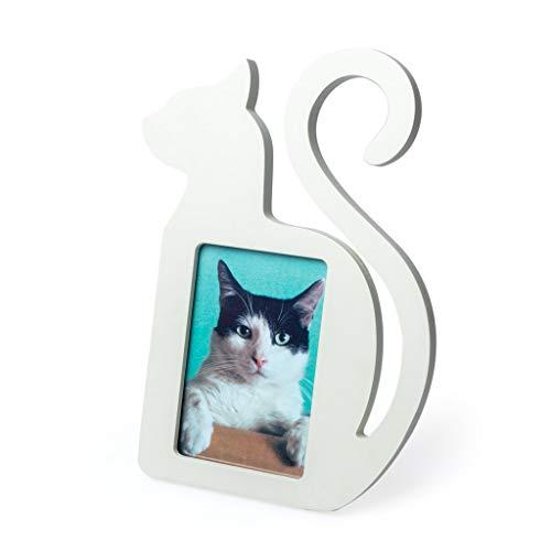 Balvi Marco Cat Color Blanco En Forma de Gato para Foto de 10x15cm Madera DM 29cm