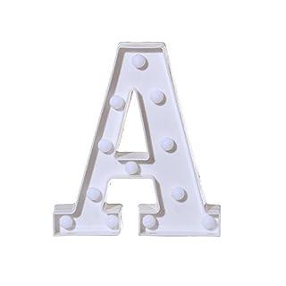 LED-Lichter, quadratisch, quadratisch, Buchstabenbeleuchtung, weiße Kunststoff-Buchstaben, hängend, A-Z, für Partys, Hochzeiten, Urlaub, Heimdekoration AS SHOW a