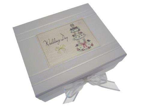 White Cotton Cards Aufbewahrungsbox für Erinnerungsstücke an die Hochzeit, Tortenmotiv, klein