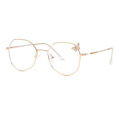 Hohl Schmetterling Brillengestell Damen Retro Polygon Flachspiegel Anti-Blaulicht Brillengestell,Rosegold,133MM