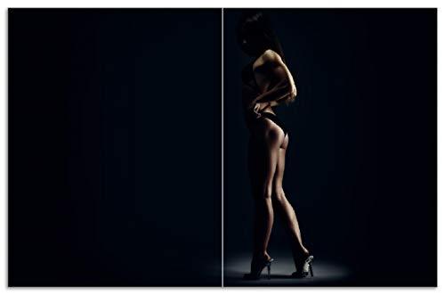 Wallario Herdabdeckplatte/Spritzschutz aus Glas, 2-teilig, 80x52cm, für Ceran- und Induktionsherde, Motiv Sexy Frau im Dunkeln - Schatten, Silhouetten, Muskeln -