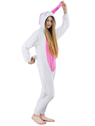 Unbekannt Damen Fleece Einteiler Nachtwäsche Pyjama Kostüm Kapuze Love Bunny rosa Gr. M (Bunny Pyjamas Kostüm)