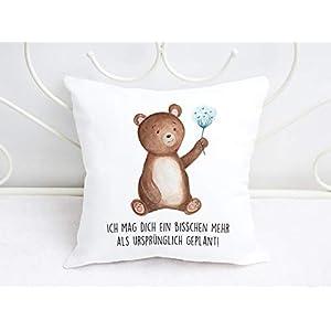 Kissen mit Bär und Spruch Ich mag dich ein bisschen mehr als ursprünglich geplant Valentinstag