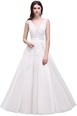 Babyonline Damen Weiß Spitze Tüll Tüll Abendkleider Lang Brautkleider Lang 40