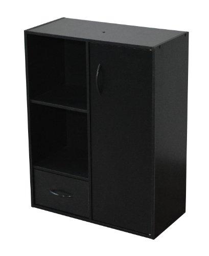 Alsapan Compo Regaleinheit mit Tür, Schublade und 2 Würfel-Einheiten, mit Melamin, 80x 61,5x 29,5cm, schwarzes Finish schwarz