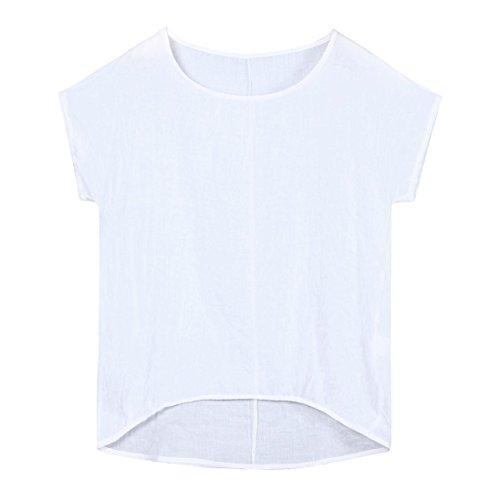 IMJONO T-Shirt Womens Fledermaus Kurzarm beiläufige Lose Top Dünnschnitt Bluse Pullover (EU-42/CN-XL, Weiß) (Punkt Button-down-shirt Kragen,)