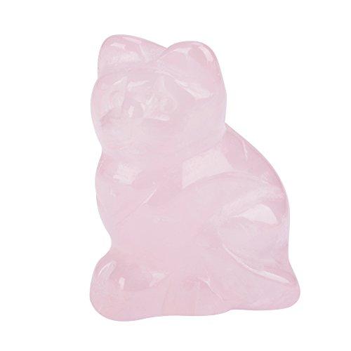 FTVOGUE Rosenquarz Geschnitzte Kätzchen-förmige Dekor Figur Statue Ornament rosa Kristall Heilstein Edelstein Dekoration -