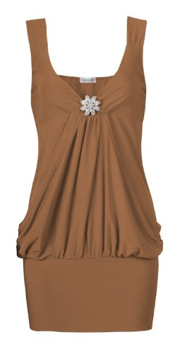 Fast Fashion - Top Sans Manches Diamonte Broche Détail Drapé Style Simple Top Du Parti - Femme Moka