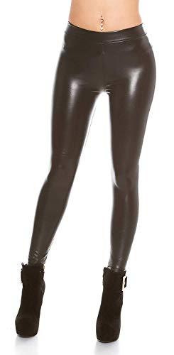 Koucla Damen Thermo Leggings Tregging in weicher Leder Optik mit Gummizug | Enge Wetlook Hose warm gefüttert | antrazit 32 34 36