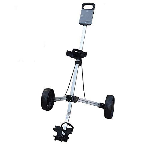 WWcarr Golf Cart Faltbarer 2-Rad Push Pull Cart Trolley Weiß Gummi (Räder Für Golf Carts)