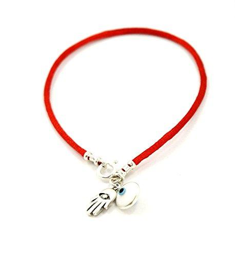 Pulsera con hilo de color rojo y colgante de plata con diseno de la Mano de Fatima, ideal como proteccion contra mal de ojo