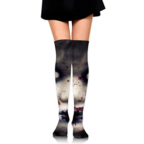 HRTSHRTE Halloween Zombie Doll Horror Evil Scary Face Ankle Stockings Over The Knee Sexy Womens Sports Athletic Soccer Socks