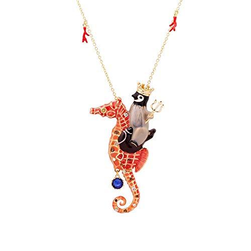 Belle Maison Europa und die Vereinigten Staaten Schmuck Marine Thema Krone Pinguin Reiten Hippocampus Edelstein Halskette Pullover Kette weiblich -