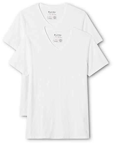 Blend V-neck T-shirt (Blend Herren V-Neck T-Shirt, Weiß (White 70002), Large (Herstellergröße: L))