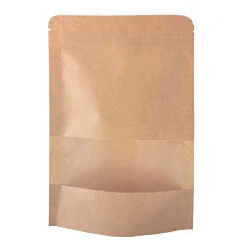 Sumdirect 50 pcs 14x22cm Kraft Fermeture Éclair Stand Up Sacs pochettes avec encoche et de fenêtres de mat (5.5\