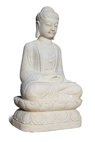 Asien Lifestyle Garten-Buddha Figur aus Marmorstein (81 cm) Meditation Yoga Figur