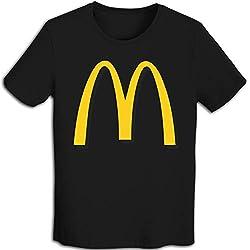 Herren-T-Shirt, klassisch, mit Logo von mc-donalds-Logo, kurzärmelig, für Herren, Rundhalsausschnitt, Weiß Gr. M, Schwarz
