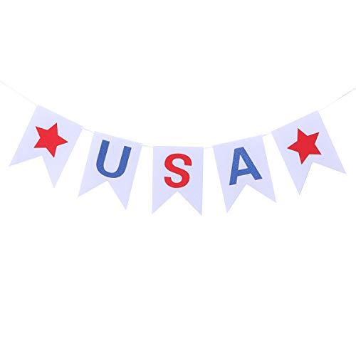 Amosfun Vierter Juli Banner USA Stern Filzbanner Girlande National Day Dekoration 2 m
