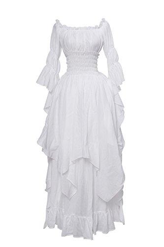 Damen Baumwolle Nachthemd Schulter unregelmäßigen Mittelalterliches Vintage (Größe Renaissance Kostüme Für Frauen Plus)