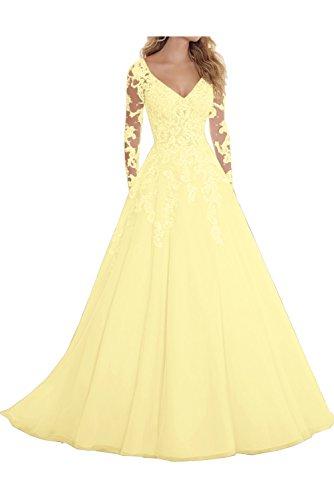 Topkleider Damen Blau V-Neck Spitze Tuell Hochzeitskleider Lang Abendkleider mit Arm-42-Gelb