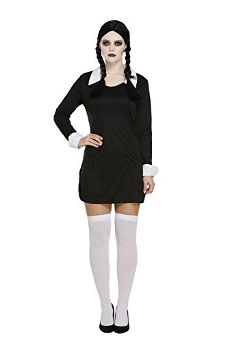 unheimlich Tochter / Wednesday Adams Girl Kostüm, klein, 4-6 (Adam Halloween Kostüm)