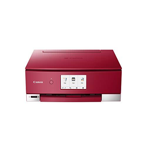 Canon PIXMA TS8252 Tinten-Multifunktionsgerät (Drucken, Scannen, Kopieren, 6 Separate Tinten, WLAN, Print App, automatischer Duplexdruck, 2 Papierzuführungen) Rot -