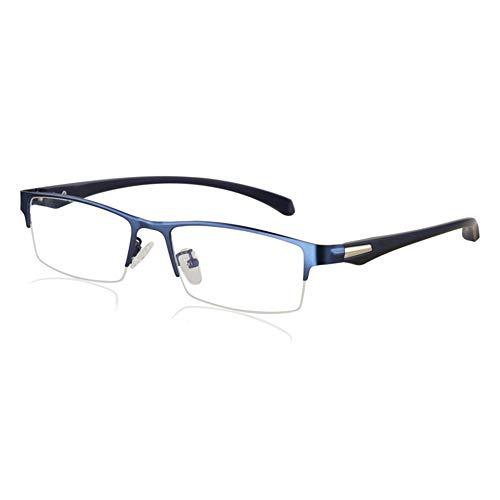 Eyetary Männer Progressive Multi-Fokus-Lesebrille, Blue Light Blocking-Leser, 1.56 Brechungsindex-Linse - Ultra Thin Rectangle Metal Frame,Blue,+2.5