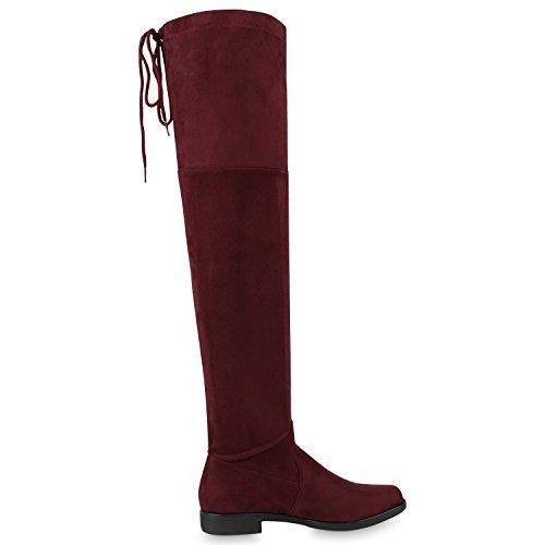 napoli-fashion Damen Overknees Gefütterte Stiefel Veloursleder-Optik Schuhe Elegante Winter Boots Winterschuhe Nieten Winterstiefel Jennika Dunkelrot