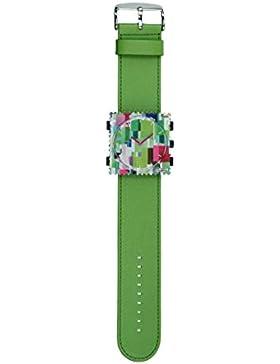 S.T.A.M.P.S. Stamps Uhr komplett - Zifferblatt Colour Cube mit grünem Lederarmband