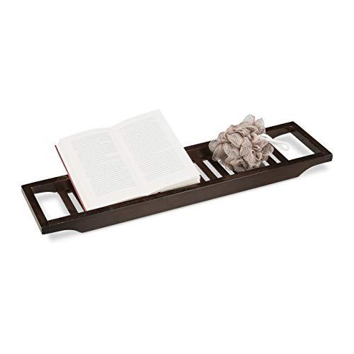 Relaxdays-Bandeja para bañera de bambú